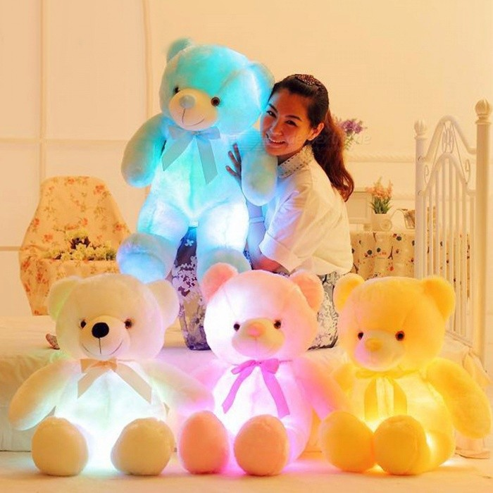 BOOKFONG 50cm Creative Light Up LED Teddy Bear Stuffed Animals Plush Toy, Colorful Glowing Doll Christmas Gift for Kids