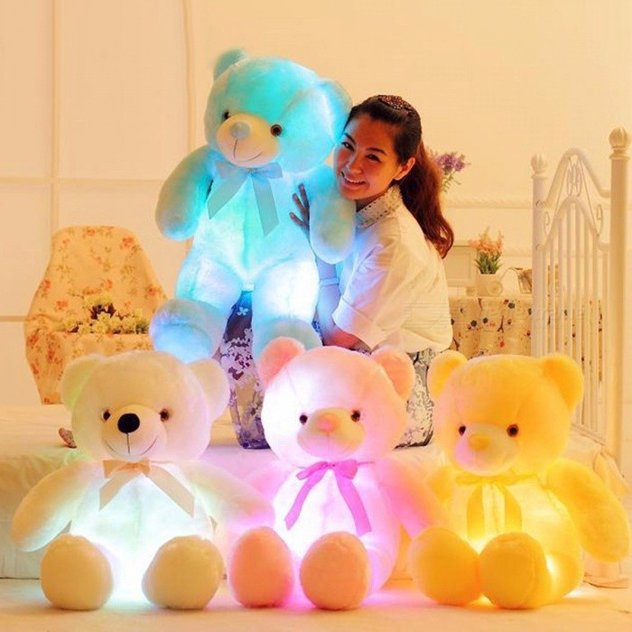 BOOKFONG 50cm Creative Light Up LED Teddy Bear Stuffed Animals Plush Toy, Colorful Glowing Doll Christmas Gift for Kids WhiteDolls and Stuffed Toys<br>Description<br><br><br><br><br>Item Type: Animals <br><br><br>Features: Stuffed &amp;amp; Plush,Glow in the Dark,Soft,Interactive,Flashing <br><br><br><br><br>Gender: Unisex <br><br><br>Animals: Bear <br><br><br><br><br>Age Range: & 3 years old <br><br><br>Brand Name: BOOKFONG <br><br><br><br><br>Material: Plush <br><br><br>Theme: TV &amp;amp; Movie Character <br><br><br><br><br>Form: Figure Statue <br><br><br>Type: Plush/Nano Doll <br><br><br><br><br>Filling: PP Cotton <br><br><br><br><br><br><br><br><br><br><br><br><br><br><br><br>Inside with LED device, include more than 7 Changing colors, can shine up after equipped with batteries. <br><br><br>When<br> you place 3 AA batteries in it, please&amp;nbsp;press the button on the right of<br> the arm, and&amp;nbsp;it will light up. If you press it again, it will turn off. <br><br><br>A best gift for girls and friends&amp;nbsp;Xmas, childrens birthday, wedding and&amp;nbsp;valentines. <br><br><br>Size: 50cm long <br><br><br>Color: white, blue, pink, yellow. <br><br><br>Material: plush and PP cotton <br><br><br>NEED: 3 AA batteries (NOT INCLUDED) <br><br><br>Package Included: 1 x LED plush teddy bear<br>