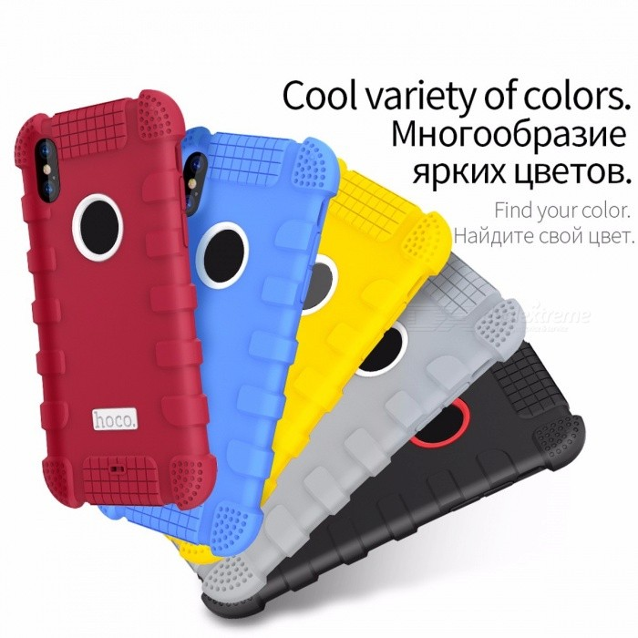 Stylish Cool Shockproof 360 Protection Case Rugged Armor Heavy Duty Soft Silicone Case Cover for IPHONE X For iPhone X/BlackSilicone Cases<br>Description<br><br><br><br><br>Retail Package: Yes<br><br><br>Compatible iPhone Model: iPhone X<br><br><br><br><br>Brand Name: HOCO<br><br><br>Design: Plain,Business<br><br><br><br><br>Function: Anti-knock,Dirt-resistant,Heavy Duty Protection<br><br><br>Compatible Brand: Apple iPhones<br><br><br><br><br>Type: Fitted Case<br><br><br><br><br><br><br><br><br><br><br><br>Features:<br><br>1. Classic Five Colors Available Fit For Young Style<br>2. Specially designed for IPHONE X, just for a better experience.<br>3. Seismic design,High rebound, Soft anti-drop.<br>4. Easy installation,super soft,perfect fit.Micro convex ring design prevents camera aperture from scratching.<br>5. Complete Edge Protection With Thickly Four Corner Prevent Getting Impact Easily<br>6. 100% Removable, Perfectly Fit For Your Smart Phone<br>
