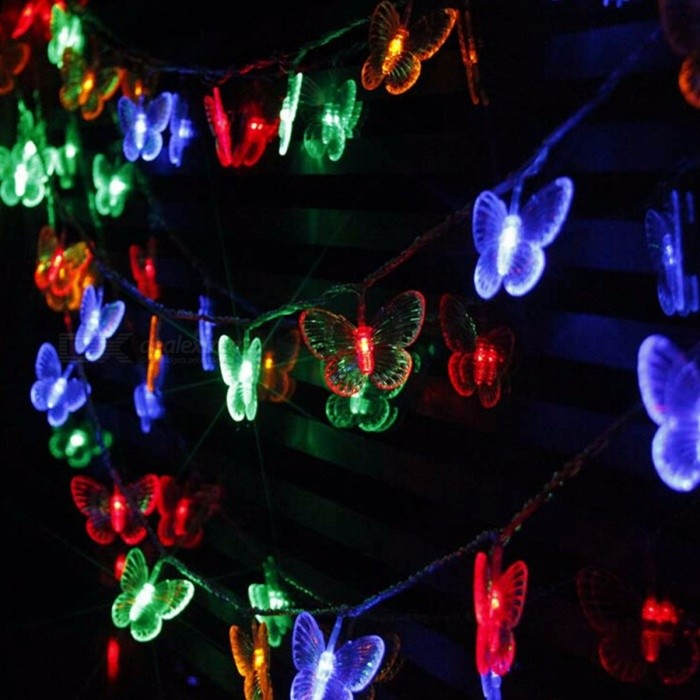 10m 50-LED Butterfly String Lights for Outdoor &amp; Indoor Christmas Holiday Wedding Party Decoration, AC 110V/220V US plug/Warm WhiteLED String<br>Description<br><br><br><br><br>Brand Name: YIcolor <br><br><br>Is Bulbs Included: Yes <br><br><br><br><br>Lighting Distance: &30m <br><br><br>Music: None <br><br><br><br><br>Power Source: AC <br><br><br>Voltage: 220V <br><br><br><br><br>Certification: CE <br><br><br>Body Material: Plastic <br><br><br><br><br>Light Source: LED Bulbs <br><br><br>Is Dimmable: No <br><br><br><br><br>Head Number: 51-100 head <br><br><br>Occasion: living room <br><br><br><br><br>Holiday Name: Easter Day <br><br><br>Color: Multi,White <br><br><br><br><br>Plug Type: N/A <br><br><br>Plug The Tail: No <br><br><br><br><br>Usage: Holiday <br><br><br>Battery Type: Other <br><br><br><br><br>Base Type: Other <br><br><br><br><br><br><br><br><br><br><br><br><br><br><br><br>Product Descriptions: <br><br><br>Mini and artistic appearance, it is easy to carry. <br><br><br>With bright led light, it looks very beautiful in the night <br><br><br>Low power consumption, be safe and reliable. <br><br><br>One-button-operation design, it is more convenient to use <br><br><br>Oceans of little flower twinkle, flash and change magically <br><br><br>It can be put or hung on walls, windows, doors, floors, ceilings, grasses, Christmas trees etc. <br><br><br>Perfect decoration for Valentines Day, Christmas, other holidays, party, wedding, etc. <br><br><br><br><br><br>&amp;nbsp;<br><br><br>Product Specifications:<br><br><br>Item Name: 10M 50 LEDs LED string light<br><br><br>Total Length: 10M<br><br><br>Quantity of led bulbs: 50<br><br><br>Lifespan: 10000 hours<br><br><br>Input Voltage: AC 110/220V, 50/60Hz<br><br><br>Wire Color: transparent<br><br><br>Package: paper box<br><br><br>Product Structure: led bulbs, wires,pendants, controller and plug.<br><br><br>Lighting Mode: 8 kinds of modes<br><br><br>&amp;nbsp;<br>Remarks:<br><br><br>EU, AU, &amp;nbsp;UK&amp;nbsp;or US plug