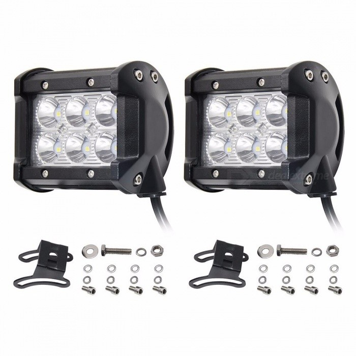 CO LIGHT 2Pcs 18W LED Chip 4 Spot Flood Automobiles Car Working Lights DRL for Lada Niva Uaz Toyota Honda Mazda 18w 4inch spot beamOff-Road Lights<br>Description<br><br><br><br><br>Color Temperature: 6000K<br><br><br>Rows: Dual Row<br><br><br><br><br>Type: Light Bar<br><br><br>External Testing Certification: CE<br><br><br><br><br>Ingress Protection: IP68<br><br><br>Shape: Straight<br><br><br><br><br>Beam Angle: Flood<br><br><br>Position: Middle<br><br><br><br><br>Brand Name: CO LIGHT<br><br><br><br><br><br><br><br><br><br>Power: 18w &amp;amp; 30W<br><br><br>Wattage: 18W &amp;amp; 36W <br><br><br>Operating Voltage: 10-30V, fit it 12V 24V cars <br><br><br>Color Temperature: 6000K <br><br><br>Material: Diecast aluminum housing <br><br><br>Beam: Spot &amp;amp; Flood beam <br><br><br>Car Modle: for universal vehicles <br><br><br> Light Type: Led Work Light <br><br><br>  <br><br><br><br>&amp;nbsp;&amp;nbsp;Chip: Using the latest&amp;nbsp;USA led&amp;nbsp;chip technology,&amp;nbsp;the&amp;nbsp;conversion rate is higher than&amp;nbsp;96.8%! <br><br><br>&amp;nbsp;&amp;nbsp;Material:<br> 6063 aviation aluminum has better mechanical and processing properties,<br> compared with the general aluminum and its mechanical and processing <br>performance is much better. <br><br><br>&amp;nbsp;&amp;nbsp;Bracket: 361 stainless steel high temperature resistance, creep resistance, especially pitting corrosion resistance. <br><br><br>&amp;nbsp;&amp;nbsp;Light seal: the sealing ring has good waterproof, shockproof, anti dust effect feature. <br><br><br><br><br><br><br><br>18W, 6000K, 4inch, Flood &amp;amp; Spot &amp;amp; Driving beam,&amp;nbsp;IP68, 30000 hours <br><br><br><br>&amp;nbsp; &amp;nbsp;Led Power: 18w/30w Led light bar <br><br><br>&amp;nbsp; &amp;nbsp;Operating Voltage: 10-30V DC, fit 12V 24V cars &amp;nbsp; &amp;nbsp; &amp;nbsp; &amp;nbsp; &amp;nbsp; &amp;nbsp; &amp;nbsp; <br><br><br>&amp;nbsp; &amp;nbsp;Color Temperature: 6000K &amp;nbsp; &amp;nbsp; &amp;nbsp; &amp;nbsp; &amp;nb