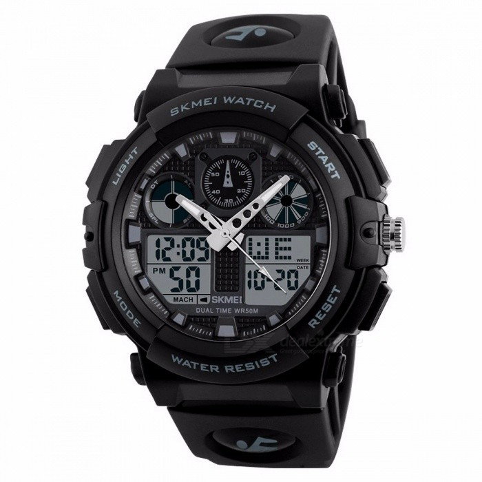 SKMEI 1270 50m Watwrproof Mens Sports Watch, Digital Chronograph Wristwatch with Double Time, Week Display BlueSport Watches<br>Description<br><br><br><br><br>Item Type: Dual Display Wristwatches <br><br><br>Feature: Back Light,Alarm,Water Resistant,Complete Calendar,Multiple Time Zone,Week Display,Chronograph <br><br><br><br><br>Case Shape: Round <br><br><br>Movement: Dual Display <br><br><br><br><br>Brand Name: SKMEI <br><br><br>Water Resistance Depth: 5Bar <br><br><br><br><br>Band Material Type: PU <br><br><br>Clasp Type: Buckle <br><br><br><br><br>Boxes &amp;amp; Cases Material: No package <br><br><br>Style: Sport <br><br><br><br><br>Dial Window Material Type: Resin <br><br><br>Gender: Men <br><br><br><br><br>Case Material: Plastic <br><br><br><br><br><br><br><br><br><br><br><br><br>Brand&amp;nbsp;Name:SKMEI&amp;nbsp;1270<br><br> Item&amp;nbsp;Type:Digital&amp;nbsp;Wristwatches<br> Movement:Digital<br> Gender:Men<br> Style:Sport,&amp;nbsp;Fashion,Military<br> &amp;nbsp;<br> Case&amp;nbsp;Shape:Round<br> Dial&amp;nbsp;Window&amp;nbsp;Material&amp;nbsp;Type:Resin<br> Case&amp;nbsp;Material:Plastic<br> Band&amp;nbsp;Material&amp;nbsp;Type:PU<br> Clasp&amp;nbsp;Type:Buckle<br> &amp;nbsp;<br> Dial&amp;nbsp;Diameter:50mm<br> Case&amp;nbsp;Thickness:17mm<br> Band&amp;nbsp;Length:255mm<br> Band&amp;nbsp;Width:20mm<br> Product&amp;nbsp;Weight&amp;nbsp;:&amp;nbsp;About&amp;nbsp;65g<br> &amp;nbsp;<br> Feature:Double&amp;nbsp;Time&amp;nbsp;,Water&amp;nbsp;Resistant&amp;nbsp;50m&amp;nbsp;,Complete&amp;nbsp;Calendar,Chronograph,Week&amp;nbsp;Display,Alarm,12/24&amp;nbsp;Hour<br>