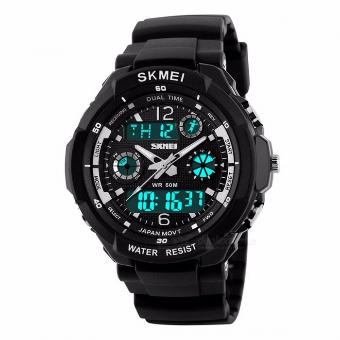 SKMEI 1060 50m Waterproof Childrens Sports Wristwatch, Fashion LED Quartz Digital Watch for Boys Girls Kids Blue LSport Watches<br>Description<br><br><br><br><br>Item Type: Dual Display Wristwatches<br><br><br>Feature: Alarm,Back Light,Water Resistant,Shock Resistant,Stop Watch,Complete Calendar,Chronograph<br><br><br><br><br>Case Shape: Round<br><br><br>Movement: Dual Display<br><br><br><br><br>Water Resistance Depth: 5Bar<br><br><br>Band Material Type: PU<br><br><br><br><br>Clasp Type: Buckle<br><br><br>Boxes &amp;amp; Cases Material: No package<br><br><br><br><br>Style: Sport<br><br><br>Dial Window Material Type: Resin<br><br><br><br><br>Brand Name: SKMEI<br><br><br>Case Material: Plastic<br><br><br><br><br>Gender: Children<br><br><br><br><br><br><br><br><br><br><br><br><br><br>Brand Name: SKMEI 1060 <br><br><br><br>Gender: Children&amp;nbsp;&amp;amp; Adult&amp;nbsp; <br><br><br>Size:L=Adult ,&amp;nbsp;S=Children <br><br><br>Style:&amp;nbsp;Fashion &amp;amp; Casual ,&amp;nbsp;Sport <br><br><br>Movement: Japanese Movement <br><br><br>Colors: Silver,Red,Blue,Green,Yellow,Orange&amp;nbsp; <br><br><br>Case Material: Plastic <br><br><br>Band Material:PU Strap <br><br><br>Buckle type: Buckle <br><br><br>Watch of Dial: Round <br><br><br>Case Thickness: 16mm <br><br><br>Dial Diameter:&amp;nbsp; S =&amp;nbsp;42mm ,L =&amp;nbsp;50mm <br><br><br>Wristband Length: S=230mm , L= 260mm <br><br><br>Band Width: S=20mm , L = 24mm <br><br><br>Water Resistance Depth: 5ATM <br><br><br>Functions:&amp;nbsp;Chronograph , Stop Watch , Complete Calendar , Back Light , Waterproof , Alarm . <br><br><br>&amp;nbsp;&amp;nbsp; <br><br><br>Packing contents: <br><br><br>1 ? Sport Watch (NO BOX)<br>