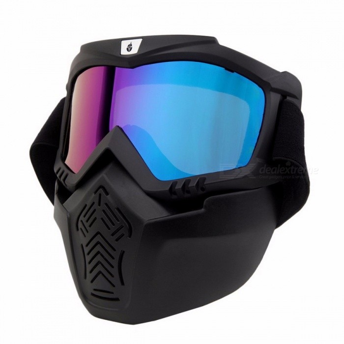Portable Lightweight Windproof Motorcycle Helmet Mask Glasses, Ski Skate Off Road Motocross Goggles for Men, Women