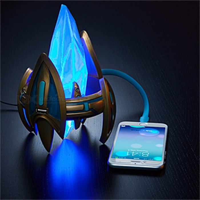 Star Craft II Protoss Pylon 2-in-1 USB Charger Desktop Power Station + Cool Light with On Off Control Switch Golden+BlueOther Gifts<br>DescriptionFeatures: FlashingGender: UnisexAge Range: GrownupsItem Type: OtherMaterial: Other<br>