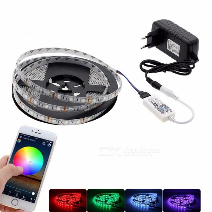 5m Wi-Fi Control SMD5050 RGB LED Strip Neon Light Kit with Mini Wi-Fi RGB Controller + 12V Power Adapter for Home Decoration