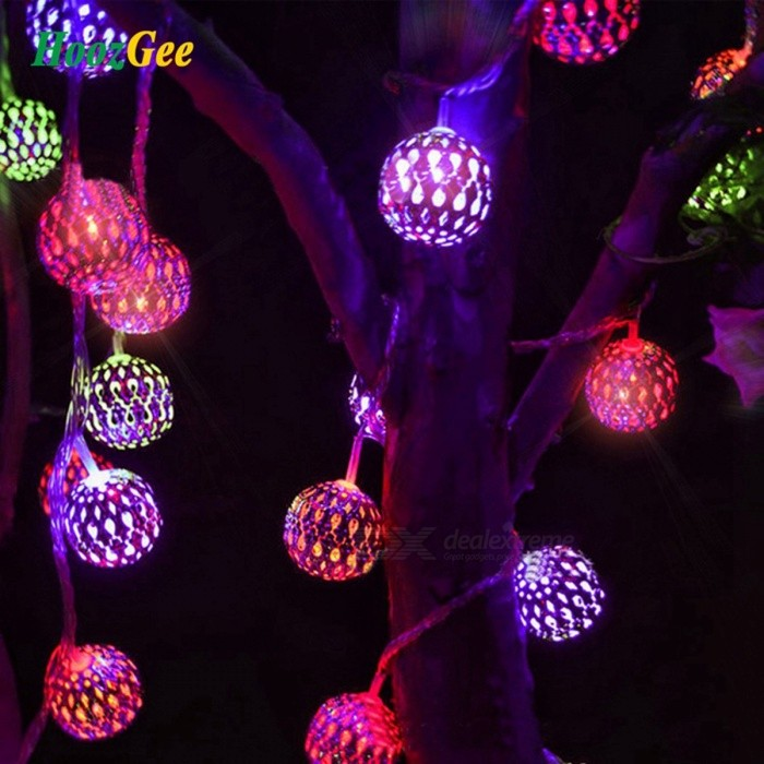 HoozGee 20-LED Moroccan Sliver Metal Ball Solar String Lights for Outdoor Garden Patio Decoration, Dream Fairy Lamp Lighting Purple