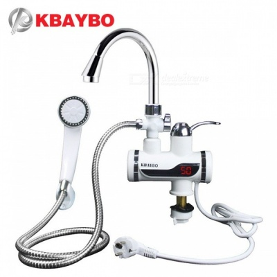 3000W LCD Temperature Display Water Heater Bathroom Kitchen Instant Electric Water Heater Tap Tankless Faucet white