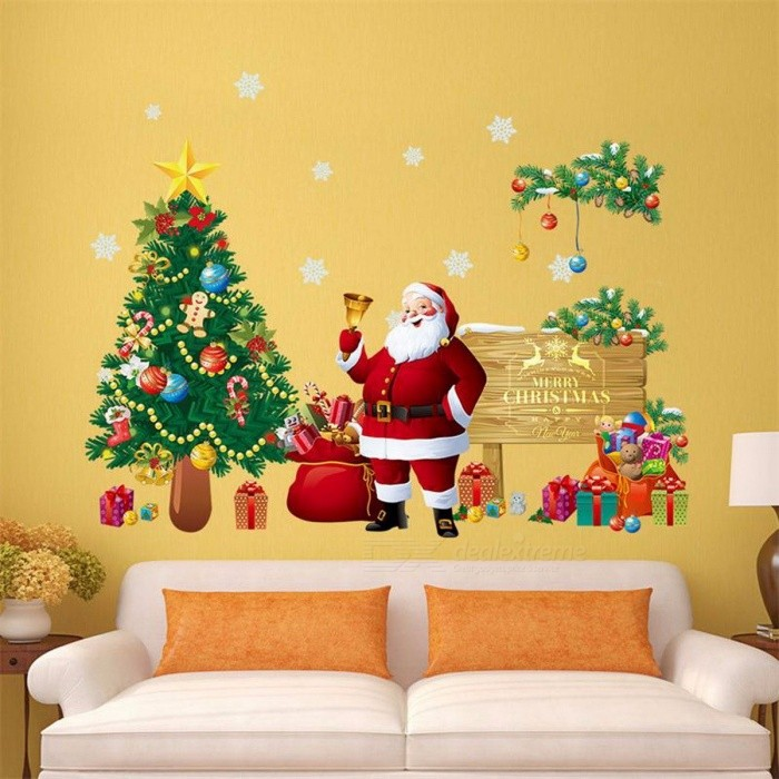 DIY Decorative Merry Christmas Wall Sticker Decoration Santa Claus Gifts Tree Removable Vinyl Window Wall Decals Xmas DecorWall Sticker <br>DescriptionBrand Name: COLOR CASAStyle: CartoonClassification: For WallPattern: Plane Wall StickerSpecification: Single-piece PackageTheme: FestivalScenarios: WallMaterial: Other<br>