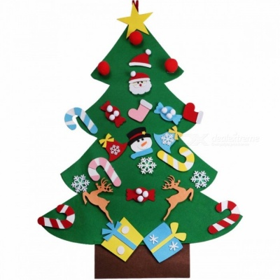 Kids DIY Felt Christmas Tree with Ornaments Special Children Christmas Gifts for 2018 New Year Door Wall Hanging Xmas Decoration Green