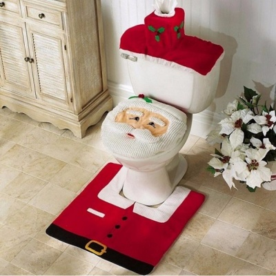 Home Toilet Seat Cover Christmas Decoration Paper Rug Bathroom Set Christmas Ornaments Santa Claus New Year Decor 3PCS Red