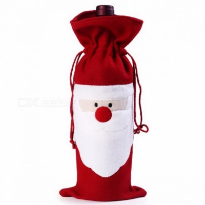 Decorative Wine Bottle Cover Bag Home Party Santa Claus Style Christmas Party Dinner Decoration Bottle Bag Red