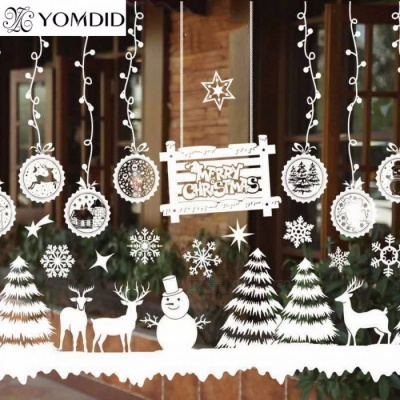 Window Decorations Merry Christmas Santa Claus Deer Snowman Snowflakes Bells Christmas Decals New Year Ornaments White 10