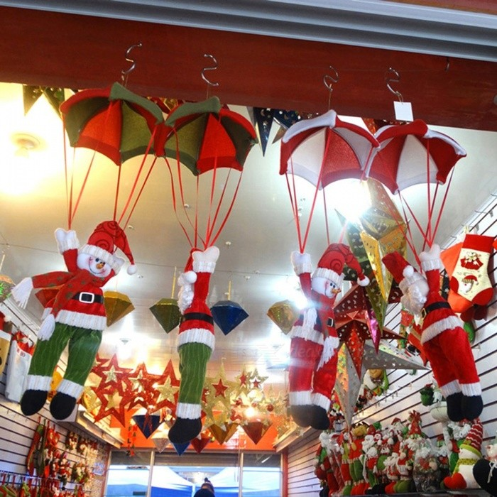 Parachute 24cm Santa Claus Smowman Hanging Pendant Doll for New Year Christmas Home Ceiling Decoration
