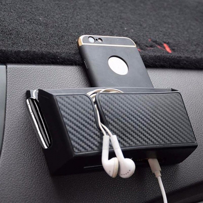 Auto Car Storage Box, Carbon Fiber Organizer Storage Case Bag Container Holder for Cell Phone