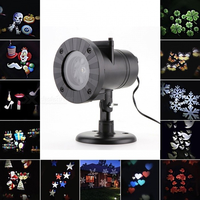 12 Patterns Christmas Laser Snowflake Projector Outdoor LED Waterproof Disco Lights Home Garden Star Light Indoor Decoration US PlugStage Lights<br>DescriptionItem Type: Stage Lighting EffectOccasion: Home EntertainmentStyle: MiniPower: 4WBrand Name: LemonBestVoltage: 90-240V<br>