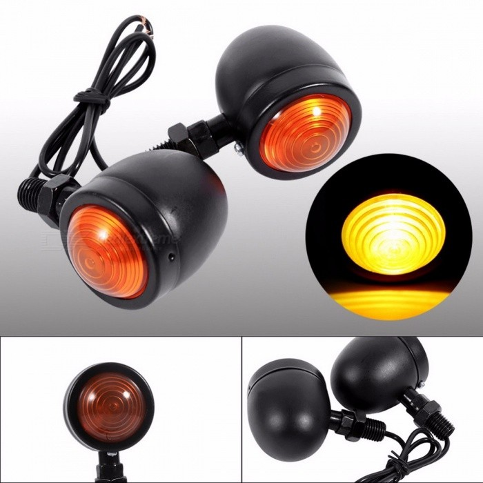 1 Pair Chrome Bullet Shape Motorcycle Turn Signal Indicator Light, Amber Motorbike Blinker Headlight, 12V Indicator Lamp BlackMotorcycle Lighting<br>DescriptionExternal Testing Certification: CCCMaterial Type: PlasticItem Type: FlashersBrand Name: VGEBY<br>