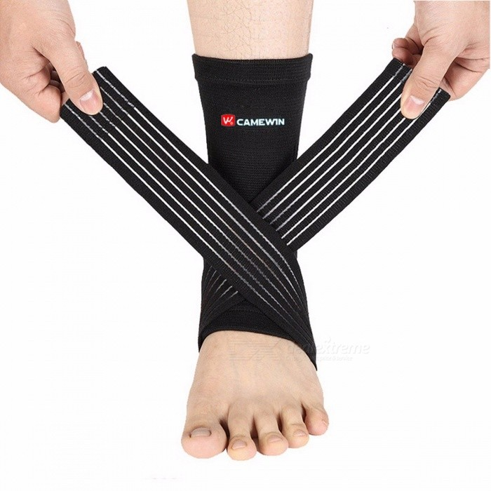 CAMEWIN-Adjustable-High-Elastic-Bandage-Compression-Knitting-Ankle-Support-Protector-for-Basketball-Soccer-Sports-Black