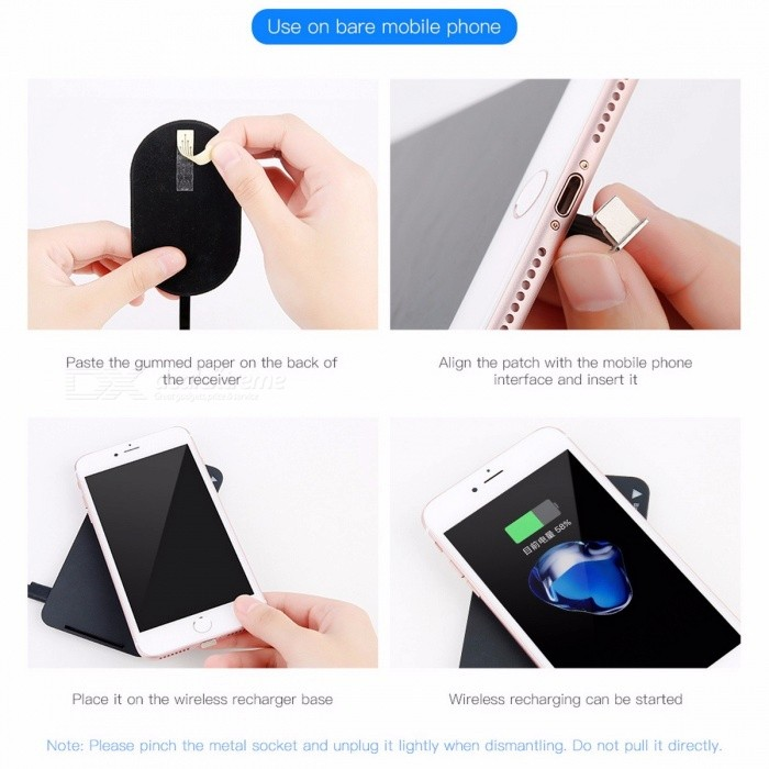Baseus Portable QI Wireless Charger Receiver for IPHONE X 8 7 6 5, Samsung Note 8 S8 S7 S6 Edge, Xiaomi MiA1