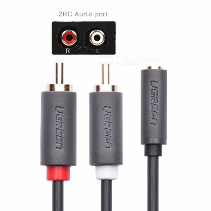 Ugreen 2 RCA Male to Female 3.5mm Jack Adapter RCA Aduio Cable Aux Cable for IPHONE Edifer Home Theater DVD VCD Headphones