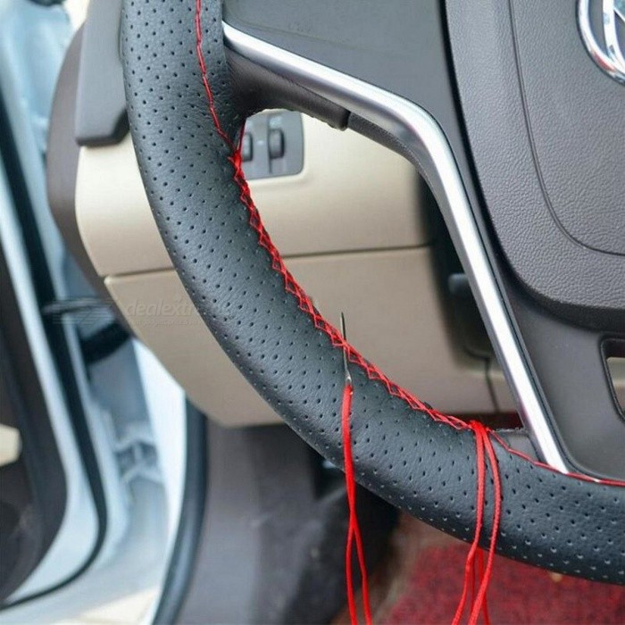 DIY Car Steering Wheel Cover with Needles and Thread Artificial Leather Protective Cover - Gray/Black Size M GrayOther Interior<br>DescriptionItem Type: Steering Wheels &amp; Steering Wheel HubsBrand Name: sikeoExternal Testing Certification: CE<br>