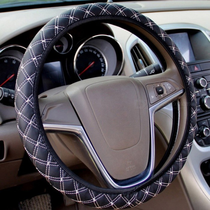 Auto Car PU Leather Steering Wheel Cover Universal Protective Cover Fit for Most Car's Steering Wheel black red
