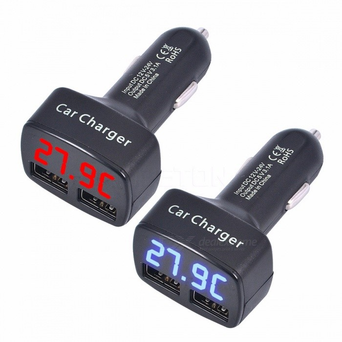 4-in-1 3.1A Car Cigarette Charger Adapter DC 12-24V Dual USB Ports with Temperature Voltage Current Blue/Red Light Display Blue DisplayCar Power Chargers<br>Description<br><br><br><br><br>Item Type: Cigarette Lighter<br><br><br>Brand Name: sikeo<br><br><br><br><br>External Testing Certification: CCC<br><br><br><br><br><br><br><br><br><br><br><br>Description :<br>&amp;nbsp;<br>Color:Black<br>Input Voltage:DC12-24V<br>Output Voltage:DC5V<br>Outout Current: 3.1A<br>Voltage Measuring Range: 5-25V<br>Current Measuring Range: 0-3.1A<br>Temperature Measuring Range:-20 degree -80 degree<br>&amp;nbsp;<br>LCD Digital Color: Blue/Red<br>(You could choose by yourself when you make the purchase)<br>&amp;nbsp;<br>100% Brand new and high quality<br>Dual 3.1A USB Output<br>Easy to satisfy your need with Dual USB socket.<br>Fixed bracket helps stabilize the Car USB charger.<br>Multifunctional product with 10A protective tube, perfect for travel use.<br>?Apply to all USB charging mobile phones or other electronic products.<br>This easily installed 5V, 2.1A output port keeps your smart phone, GPS, MP3.<br>Optimised for iPad, for iPhone &amp;amp; for iPod - fast charging at full speed (2.1Amps for iPad, 1Amp for iPhone/for iPod).<br>&amp;nbsp;<br>Package include:<br>1 x Dual USB Car Charger<br>