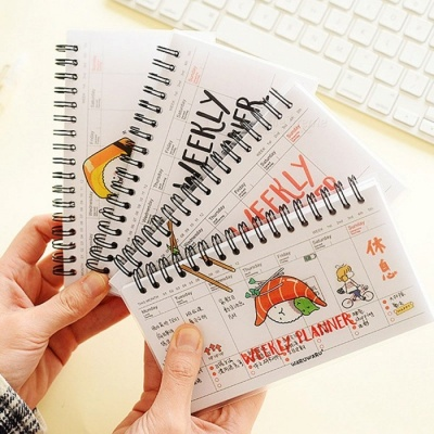 Cute Kawaii Cartoon Weekly Planner Coil Notebook Agenda Filofax for Kids Gift, Korean Stationery for Students Design 1