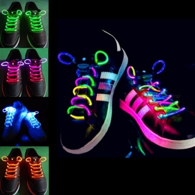 2Pcs Fashion LED Luminous Shoelaces Shoe Laces, Flashing Light Up Glow Stick Strap Neon Shoe Strings for Disco Party  Green