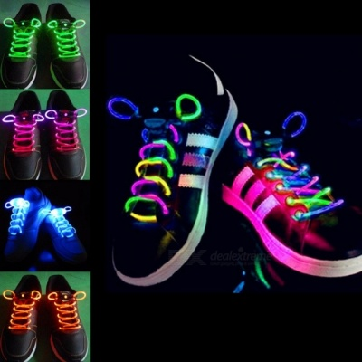 2Pcs Fashion LED Luminous Shoelaces Shoe Laces, Flashing Light Up Glow Stick Strap Neon Shoe Strings for Disco Party  Red