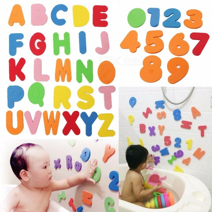 36Pcs Alphanumeric Letters Bath Puzzle Soft EVA Numbers Early Educational Toy for Kids Baby Children  Colorful