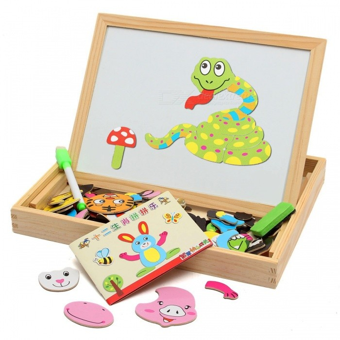 Magnetic Drawing Writing Board Puzzle Double Easel, Wooden Intelligence Development Toy Gift for Kids Children  White+Multi-ColoredBlocks &amp; Jigsaw Toys<br>DescriptionGender: UnisexType: Drawing Toys SetAge Range: &gt; 3 years oldBrand Name: LBLAMaterial: WoodClassification: Paint Learning Notebook/Coloring Notebook<br>