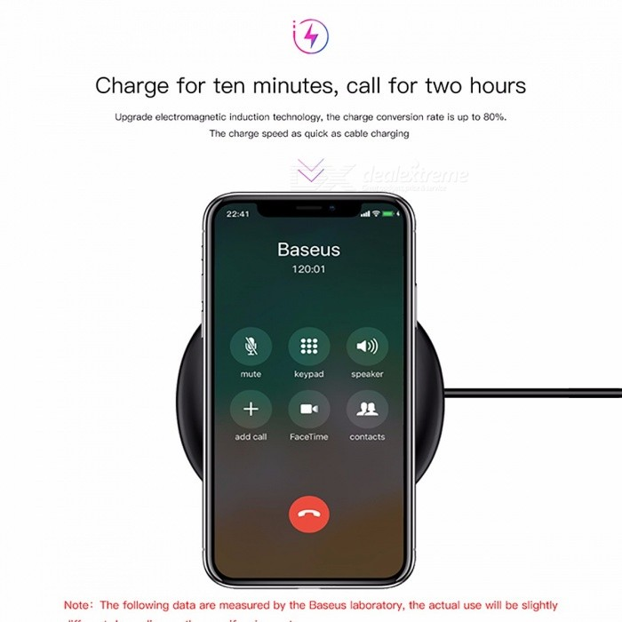Baseus Ultra Slim Qi Wireless Charger, Fast Charging Pad for IPHONE X, 8, 8 Plus, Samsung Galaxy Note 8 S8 S7 S6 Edge