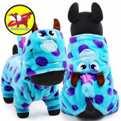 PETCIRCLE Warm Flannel Pet Cat Dog Clothes in Cold Winter Autumn, Visual Blue Dragon Pattern Puppy Dog Coat Outfit Jumpsuit L/flannel