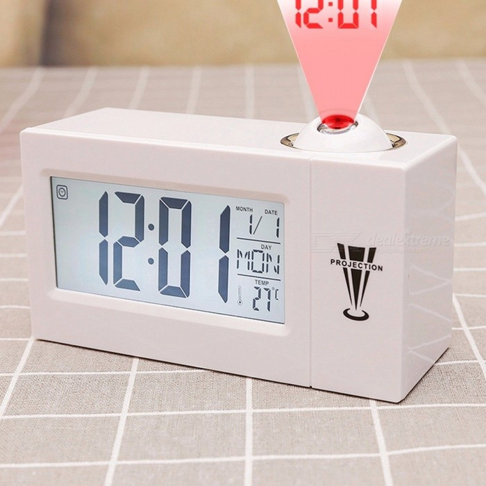LED Digital Projection Alarm Clock, Voice Control Talking Electronic Bedside Wake Up Projector Desk Clock with Time for Kids Whitedesk clock<br>Description<br><br><br><br><br>Type: Alarm Clocks<br><br><br>Style: Europe<br><br><br><br><br>Shape: Square<br><br><br>Screen Type: LED<br><br><br><br><br>Feature: Calendars<br><br><br>Brand Name: jusenda<br><br><br><br><br>Motivity Type: Digital<br><br><br>Display Type: Digital<br><br><br><br><br>Material: Plastic<br><br><br>Form: Single Face<br><br><br><br><br>Function: Projection<br><br><br><br><br><br><br><br><br><br><br><br><br>Voice Control Talking Digital Desk&amp;nbsp;Projection Alarm Clock<br><br><br>Color: Black/White<br><br><br>&amp;nbsp;<br><br><br>Size: 5.85&amp;nbsp;x 1.56 x&amp;nbsp;&amp;nbsp;2.73&amp;nbsp;inch<br><br><br>&amp;nbsp;<br><br><br>After you have tried it out, Im sure youll agree that this is a very good product!<br><br><br>Features:<br><br><br>? Time: 12/24 hour system<br><br><br>? Temperature: °C / °F(0 ? -50 ? (or 32 ? -122 ?))<br><br><br>? Projection: The top of the projection can be rotated by 180°<br><br><br>? Backlight: &amp;nbsp;LED Backlight (can be always on)<br><br><br>?Week set up seven kinds of text optional, respectively :<br><br><br><br>English ENG, <br><br><br>Dutch NED, <br><br><br>Portuguese POR, <br><br><br>Spanish ESP, <br><br><br>Italian ITA, <br><br><br>German DEU, <br><br><br>French FRA. <br><br><br><br>? LCD Display: Time / Date / Temperature /Humidity<br><br><br>?&amp;nbsp;6 world famous song and 2 different beep sound can choose<br><br><br>? Power Supply: 3 x AAA battery(not include) or adapter(not include)<br><br><br>Friendly Reminder:<br><br><br>A program (without power)?<br><br><br>Battery will be more power consumption, and projection and screen will automatically disappear a few seconds&amp;nbsp;Lost, if you want to see the time need to click on the S/C button.(Make some noise (clap your hands, rap on the table or pat the clock) nearby can wake it up.)<br><br><br>B pr
