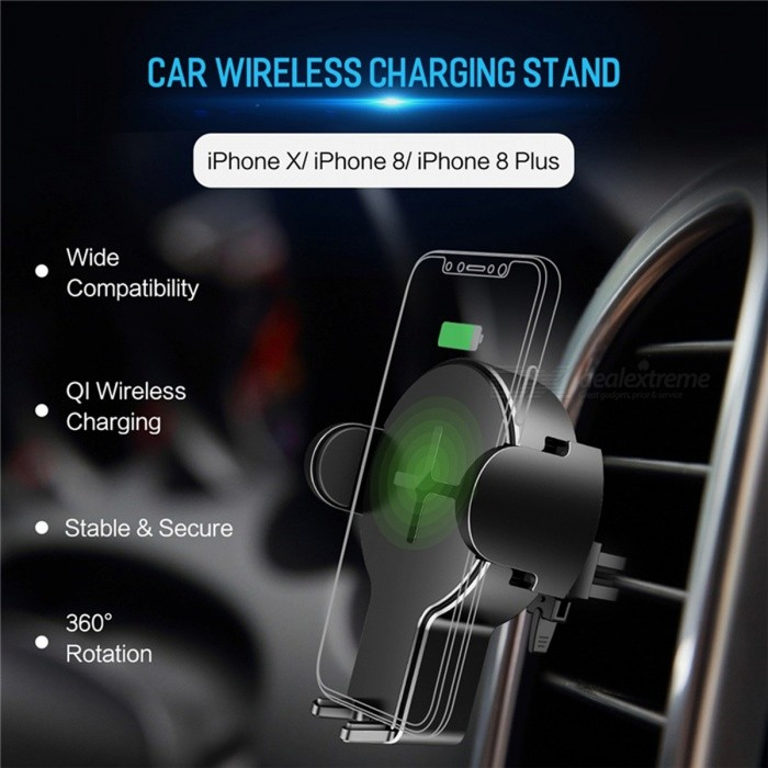 ROCK 5W Fast Charging QI Car Wireless Charger, Phone Stand for IPHONE 8 X  Samsung Galaxy S8 Note 8 Plus Universal