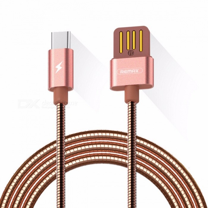 REMAX Metal Spring 2.1A Dual Side USB3.1 Type-C to USB Fast Charging Data Cable for Macbook / Xiaomi 4C / Samsung S8 1m/GoldCables<br>Description<br><br><br><br><br>Compatible Brand: LG,Nokia<br><br><br>Features: Reversible<br><br><br><br><br>Type: Type C<br><br><br>Brand Name: Remax<br><br><br><br><br>Has Retail Package: Yes<br><br><br><br><br><br><br><br><br>Feature: <br><br><br>Data cable: make<br> of metal material, aluminum alloy oxidation process and laser carving <br>technology, anti-wind spring wire, toughness and pull resistance, <br>anti-rust.<br><br><br>&amp;nbsp;<br><br><br>USB Port output, dual-side metal contacts, reversible blind insertion<br><br><br>Gold-plating connector, anti-oxidation, smooth plug stable and durable, long service life.<br><br><br>&amp;nbsp;<br><br><br>Fast charging: efficient fast charging chip, stable distribution of electricity, 2.1A(max), 480mb/s<br><br><br>Metal spring wire, anti-rust, toughness and pull resistance, free to bend not winding. <br><br><br>&amp;nbsp;<br><br><br>Oxygen-free pure copper core, real material, good electrical conductivity, safe and stable charging. <br><br><br>&amp;nbsp;<br><br><br>Specification:<br><br><br>Brand:REMAX<br><br><br>Name: silver serpent data cable <br><br><br>No.RC-080a<br><br><br>Color: rose gold, gold, silver, black <br><br><br>Core: pure copper<br><br><br>Materials: aluminum alloy+metal spring wire<br><br><br>Current:2.1A(max)<br><br><br>Transfer: 480mb/s<br><br><br>Wire length:1000m spring wire(OD3.2MM)<br><br><br>Weight: 29.8g<br><br><br>Size:15.5*95*95mm<br><br><br>&amp;nbsp;<br><br><br>Package:<br><br><br>1xREMAX Silver serpent spring metal jacket for  macbook/Oneplus/xiaomi 4C/Nexus<br>