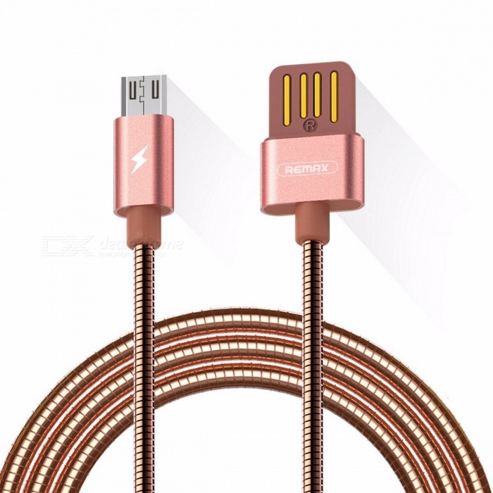 REMAX Spring Metal 2.1A Micro USB to USB Fast Charging Charger Cable, Data Sync Line for Xiaomi, Huawei, HTC 1m/Silver