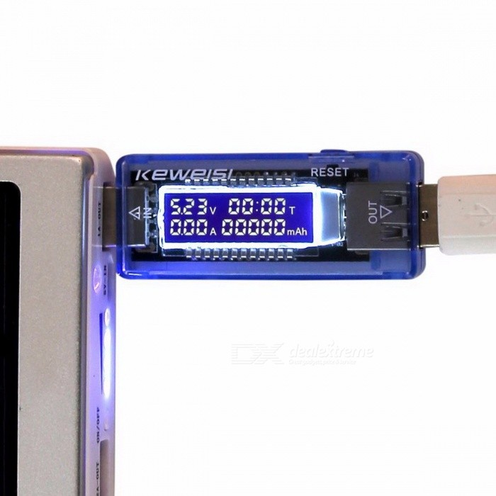 3-in-1 USB Charger Doctor Battery Tester, Voltage Current Detector, Mobile Power Voltage Current Meter blueTesters &amp; Detectors<br>Description<br><br><br><br><br>Brand Name: keweisi<br><br><br>DIY Supplies: Electrical<br><br><br><br><br>Display Type: Digital Only<br><br><br>Power Supply: Other<br><br><br><br><br><br><br><br><br><br><br><br>3 in 1 Battery Tester Voltage Current Detector Mobile Power Voltage Current Meter USB Charger Doctor<br><br><br>&amp;nbsp;<br><br><br>Package Including:<br><br><br>1pcs USB Charger Doctor Voltage Current Meter Mobile Battery Tester Power Detector<br><br><br>&amp;nbsp;<br><br><br><br><br>100% Brand New and High Quality<br><br><br><br><br>Display data: Voltage Current Capacity Time<br><br><br><br><br>Specification:<br> 1.Input USB<br> 2.RTZ, Reset button, press it three seconds will Reset<br> 3.Out USB<br> 4.Voltage: 4V-20V ( 1% accuracy )<br> 5.Current: 0-3A ( accuracy of 0.4% )<br> 6.Battery Capacity (0-99999mah)<br> 7.Working time (0-99Hour)<br> 8.The working time and Capacity have Memory function when power off<br><br><br><br><br>9.Color:As the picture show<br><br><br><br><br>10.Size: 7.3cm*2.3cm*1.35cm (LXWXH)<br><br><br><br><br>11.Quantity:1 Pcs<br><br><br><br><br>12.Net Weight: 25g&amp;nbsp;<br><br><br><br><br>Note:<br> Lighting, display and other factors may cause COLOR SHADING, please <br>comprehensive pictures and text descriptions to determine!<br>