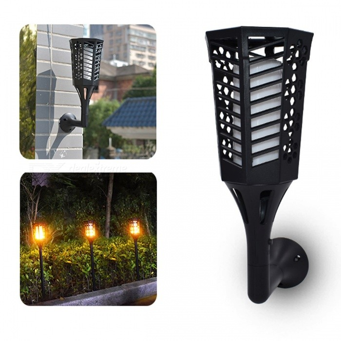 96-LED-Solar-Powered-Torch-Light-for-Dancing-Flame-Lighting-Outdoor-Waterproof-Garden-Dusk-to-Dawn-Flickering-Wall-Light-Black
