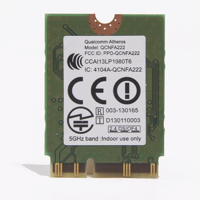New Atheros QCNFA222 AR5BWB222 Dual Band NGFF 300Mbps WLAN 802.11a/b/g/n 2.4GHz/5GHz Wireless Wi-Fi + Bluetooth BT 4.0 Mini Card Mini CardNetwork Cards<br>Description<br><br><br><br><br>Products Status: Stock<br><br><br>Brand Name: fenvi<br><br><br><br><br>Lan Transmission Rate: Ethernet<br><br><br>Package: Yes<br><br><br><br><br>Application: Laptop<br><br><br>Applicable Network Type: Fast Ethernet<br><br><br><br><br>Frequency Range: Double frequency(2.4GHz, 5GHz)<br><br><br>Type: Wireless<br><br><br><br><br>Kind: Internal<br><br><br>Transmission Rate: 300Mbps<br><br><br><br><br>Wireless Protocol: 802.11a,802.11b,802.11g,802.11n<br><br><br>Adapter Socket: Other<br><br><br><br><br>Interface Type: Other<br><br><br><br><br><br><br><br><br><br><br><br><br>Description:<br><br><br>&amp;nbsp;<br><br><br><br>Condition: Brand New&amp;nbsp; <br><br><br>Model:QCNFA222&amp;nbsp;&amp;nbsp; <br><br><br>Type:802.11abgn+bt4.0&amp;nbsp;&amp;nbsp; <br><br><br>Interface:NGFF&amp;nbsp;&amp;nbsp; <br><br><br>Speed up to 300Mbps <br><br><br>Bios:&amp;nbsp;standard / public version <br><br><br>Compatible<br> models:for Acer Aspire E5-571G ,S7-191 ,V5-573G,VN7-591G ...(please <br>check it whether compatible with your laptop before ordering this <br>product , if you have any problem please contact seller) <br><br><br>Not support For HP/IBM/Lenovo <br><br><br><br>&amp;nbsp;<br><br><br>&amp;nbsp;<br><br><br>Package:<br><br><br>&amp;nbsp;<br><br><br><br>1*wireless card<br>