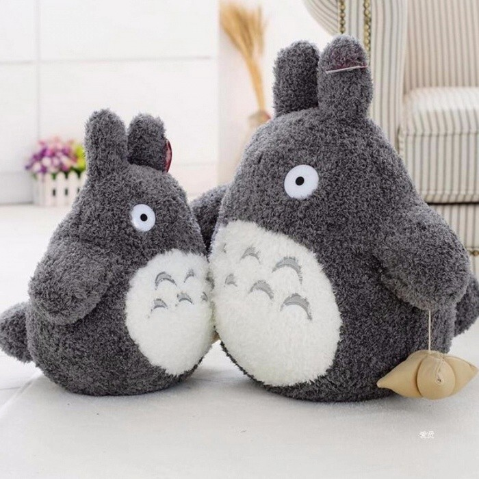 Cartoon Lovely Style Plush Totoro Toy, Cute Movie Character Stuffed Baby Doll for Children Birthday Gift Gray