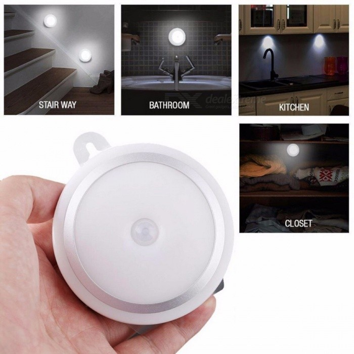 Portable Mini Super Bright LED Wireless Motion Sensor Light, Wall Cabinet Wardrobe Drawer Kitchen Lamp WhiteLED Nightlights<br>Description<br><br><br><br><br>Power Source: DC<br><br><br>Power Generation: Motion<br><br><br><br><br>Is Dimmable: No<br><br><br>is_customized: Yes<br><br><br><br><br>Brand Name: KISS-THE NIGHT<br><br><br>Material: ABS<br><br><br><br><br>Certification: CCC<br><br><br><br><br><br><br><br><br><br><br><br>Feature:<br>Light color: White<br>LED Qty: 10pcs * White<br>Color Temperature: 6000-6500K<br>Power: 1W<br>Lumen: 30lm<br>PIR Degree: 120 Degree<br>PIR Sensor Distance: 3-5m<br>LED delayed : 20 second<br>Size: 8*8*2.4cm<br>Powered by 3* AAA batteries (not included)<br>10 LEDs, super bright cabinet light with motion sensing<br>Slim, no radiation, flexibility and power saving<br>Built-in motion sensor and can detect motion distance up to 13 feet <br>away, 120 degrees of vision and provided about 20 second lighting time<br>Support two way installation: double-sided adhesive sticker or magnetic<br>Ideal for :using in wardrobes, cupboards, drawers or on stairway.<br>Fast, simple and easy installation (double-sided adhesive sticker or magnet) which can move easily and conveniently<br><br><br><br><br><br>1 x Sensor Light<br>1 x double-sided adhesive sticker<br>