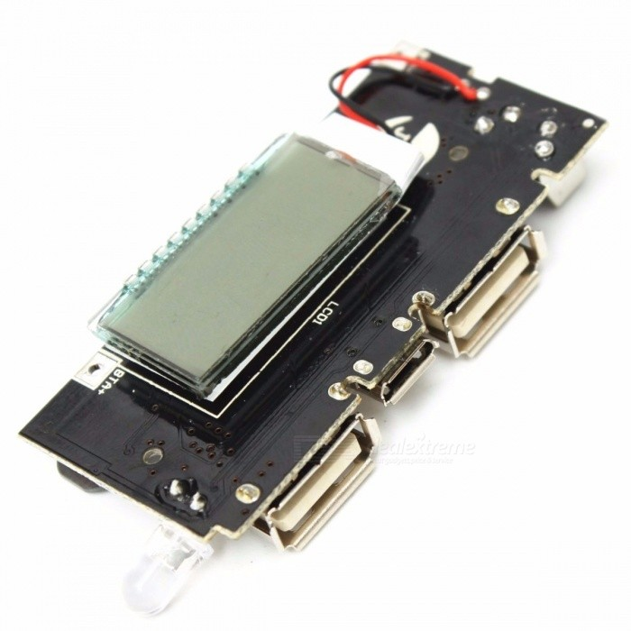 DIY Dual USB 5V 1A 2.1A Mobile Power Bank 18650 Battery Charger PCB Power Module Accessories for Phone DIY LED LCD Module Board colorfulDIY Parts &amp; Components<br>Description<br><br><br><br><br>Brand Name: TMOEC<br><br><br>is_customized: Yes<br><br><br><br><br>Condition: New<br><br><br>Application: Other<br><br><br><br><br>Type: Other<br><br><br><br><br><br><br><br><br><br><br><br>Features:<br>Motherboard comes with protection function: Charging overcharge protection,<br>over-discharge protection, overcurrent protection.<br>Intelligent output device after charging full, automatically stop charging,<br>to prevent mobile phones overcharge.<br>Output voltage and current stable, will not harm user devices.<br><br>Specifications:<br>Micro USB input: 5V 1A<br>USB Output: 5V 2.1A / 5V 1A(Dual USB interface)<br>Charging display: intelligent digital display<br>Batteries Type: liquid lithium-ion batteries (18650)<br>Product Size: 57mm x 28mm<br>Screen size:27mm x 17mm<br><br>Installation instructions:<br>The circuit board is connected to the battery negative B-, B + is the positive, do not<br>connecting reversed, connecting reversed will burn the board, the battery is connected<br>in parallel welding, assembling battery. Note that the insulation between the battery and the<br>circuit board, battery lead not to touch the circuit board, so as not to cause a short circuit.<br><br>Package included:<br>1x Mobile Power Bank 18650 Battery Charger PCB<br>
