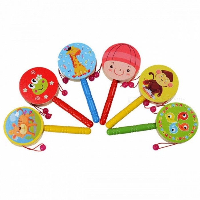 Portable Cute Lovely Wooden Rattle Pellet Drum Cartoon Musical Instrument Toy for Children Kids Gift  Colorful