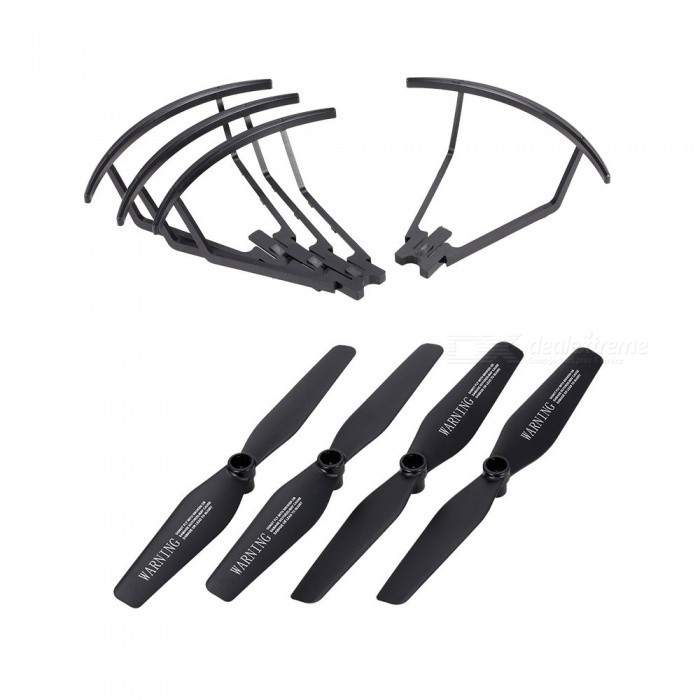 2 Pairs Propeller and 4 Pieces Propeller Guard Ring for VISUO XS809 XS809HW XS809W Foldable Drone RC Quadcopter Propellers Black