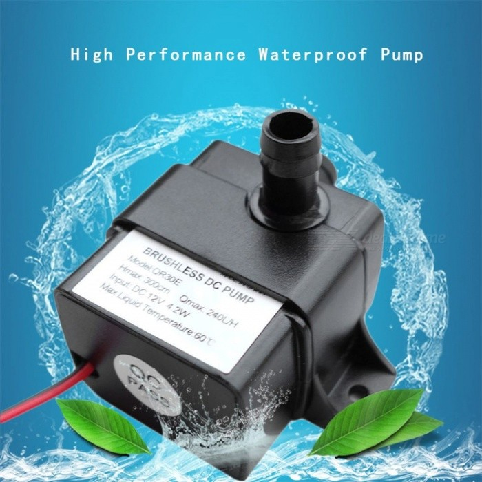 Buy Ultra Quiet DC 12V 4.2W 240L/H Flow Rate Waterproof Brushless Pump Mini Submersible Water Pump QR30E 2017 Brand New black with Litecoins with Free Shipping on Gipsybee.com