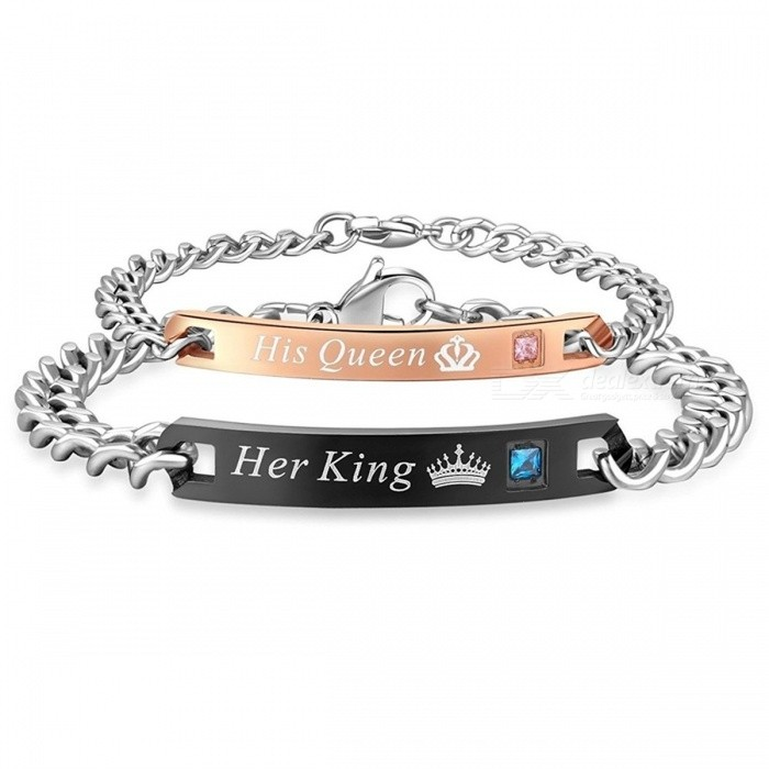 AZIZ BEKKAOUI Couple Bracelets Her King His Queen Style Stainless Steel Crytal Crown Charm Bracelets for Women Men loversBracelets<br>Description<br><br><br><br><br>Item Type: Bracelets<br><br><br>Fine or Fashion: Fashion<br><br><br><br><br>Chain Type: Link Chain<br><br><br>Clasp Type: Lobster<br><br><br><br><br>Setting Type: Channel Setting<br><br><br>Shape\pattern: Heart<br><br><br><br><br>Material: Semi-precious Stone<br><br><br>Style: Cute/Romantic<br><br><br><br><br>Bracelets Type: Charm Bracelets<br><br><br>Gender: lovers<br><br><br><br><br>Metals Type: Stainless Steel,Titanium<br><br><br>Brand Name: AZIZ BEKKAOUI<br><br><br><br><br>Compatibility: Other<br><br><br>Function: Other<br>