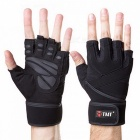 TMT Sports Gym Breathable Half-Finger Gloves for Men Women Body Building Dumbbell Weightlifting Fitness XL/Black