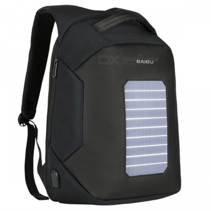 6.5W Solar Powered & Anti-Theft Backpack Sports Climbing Bag with Solar Panel, Bottle Laptop USB Charging Bag for Men Women
